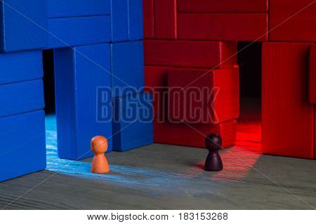 Choice concept. Two abstract business persons and two doors blue and red doubtful. The man hesitates before choosing. Business Men standing in front of two doors unable to make the right decision.