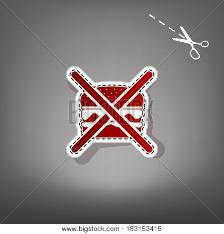 No burger sign. Vector. Red icon with for applique from paper with shadow on gray background with scissors.