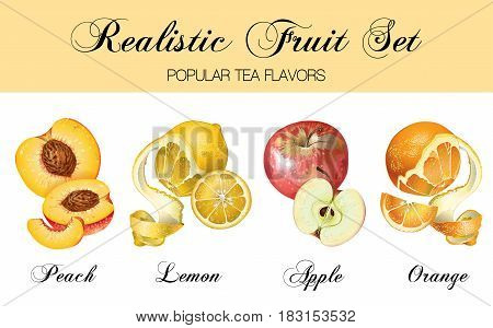 Vector realistic fruits set isolated on white. Peach, lemon, apple, orange. Design for natural cosmetics, candy, ice cream sweets and pasties filled with fruits, diet and health care products.