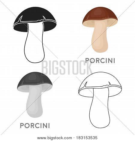 Porcini icon in cartoon style isolated on white background. Mushroom symbol vector illustration.