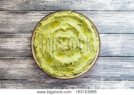 Healthy Avocado Hummus With Olive Oil. Vegetarian Concept. Selective Focus
