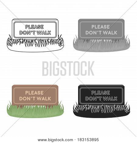 Please don't walk icon in cartoon style isolated on white background. Park symbol vector illustration.