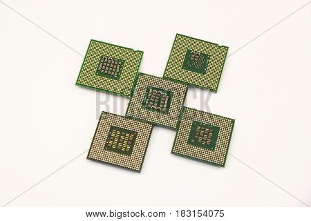 Five computer chip isolated on the white background. Modern technology.