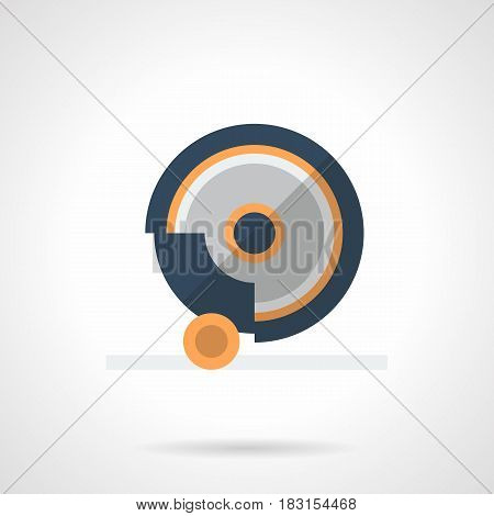 Symbol of grindstone disk. Part of grinding machine, industrial tools and equipment. Flat color style vector icon.
