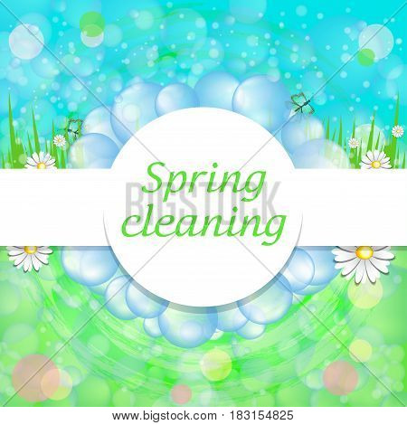 Bright beautiful spring background with soap bubbles grass flowers for commercial cleaning services. Vector illustration.