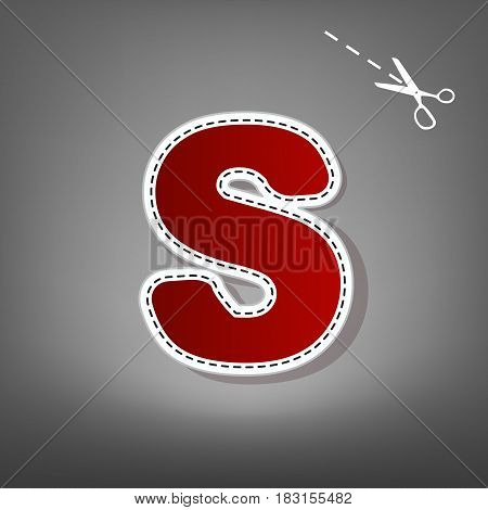 Letter S sign design template element. Vector. Red icon with for applique from paper with shadow on gray background with scissors.