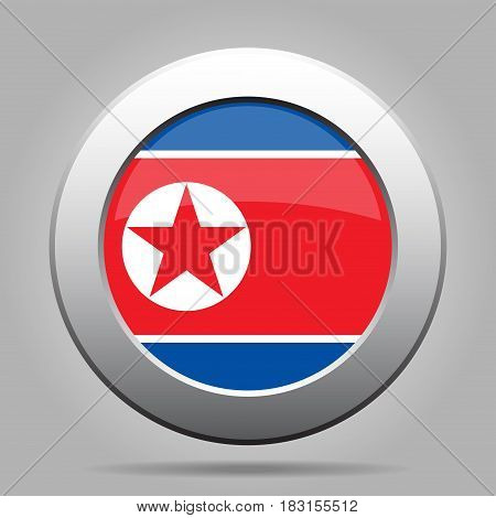 National flag of North Korea. Shiny metal gray round button with shadow.