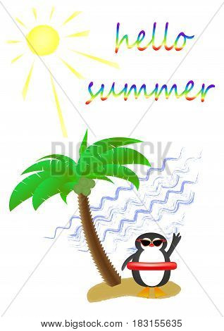 palm tree and a cute penguin wearing sunglasses on a sandy island in the sea, postcard, vertical
