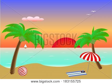 Seascape sunset, two palms and beach accessories on sand in the sea, postcard, horizontal