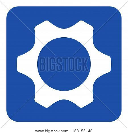 blue rounded square information road sign with white cogwheel icon
