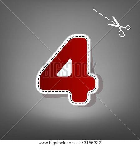 Number 4 sign design template element. Vector. Red icon with for applique from paper with shadow on gray background with scissors.