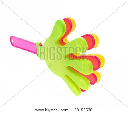 noisy toy-rattle in the form of palm with pink handles