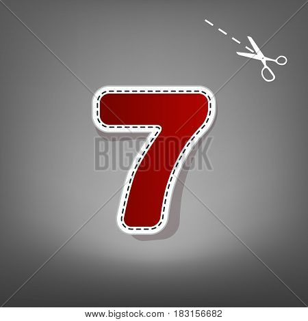 Number 7 sign design template element. Vector. Red icon with for applique from paper with shadow on gray background with scissors.