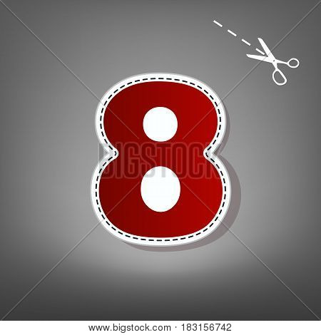 Number 8 sign design template element. Vector. Red icon with for applique from paper with shadow on gray background with scissors.