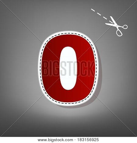 Number 0 sign design template element. Vector. Red icon with for applique from paper with shadow on gray background with scissors.