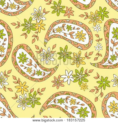 Paisley yellow summer floral pattern. Seamless pattern can be used for fabrics paper craft projects web page background surface textures. Abstract vintage seamless background