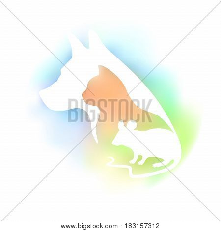 Colored logo for veterinary clinic and pet shop. Vector pets silhouette on a multicolored background. Dog cat and mouse.