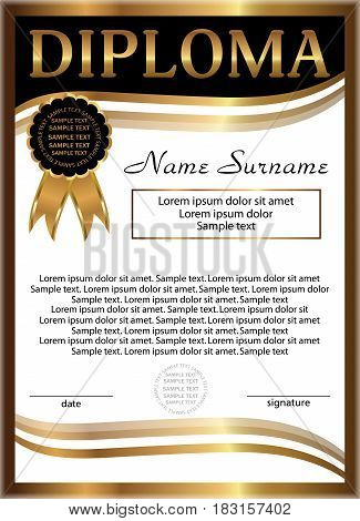 Diploma golden template. Vertical background. Winning the competition. Reward. Vector illustration.