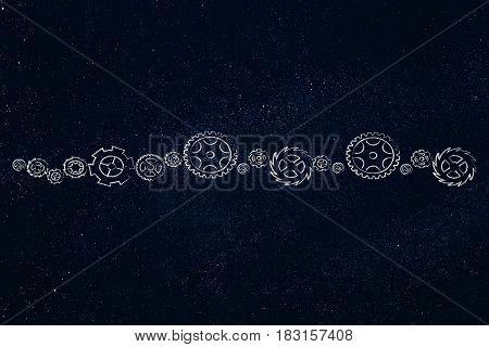 Line Of Different Gearwheels, Rackwheels And Cogwheels