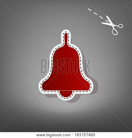 Bell Alarm, hand bell sign. Vector. Red icon with for applique from paper with shadow on gray background with scissors.