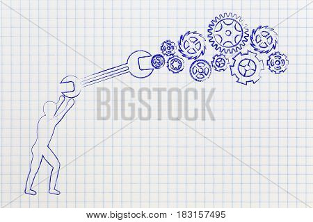 Man With Wrench Fixing A Gearwheel Mechanism