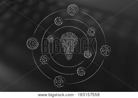 Electronic Circuit Lightbulb With Gearwheels Spinning Around It