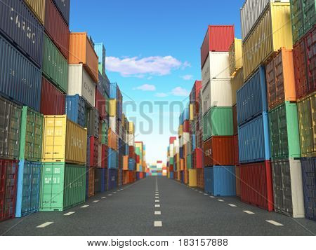 Cargo containers in shipping yard. Delivery shipping logistic import export industrial concept. 3d illustration