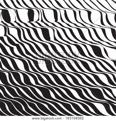 Halftone Pattern Background Striped Waves. Vector Lines Waved Te