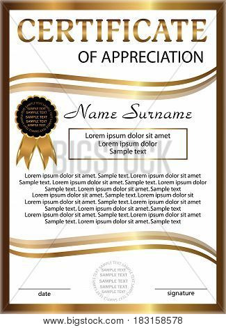 Certificate of appreciation golden template. Vertical background. Winning the competition. Reward. Vector illustration.