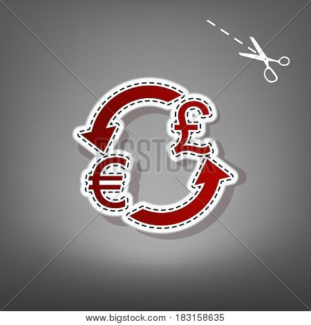 Currency exchange sign. Euro and UK Pound. Vector. Red icon with for applique from paper with shadow on gray background with scissors.