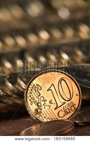 euro a coin on a background of coins