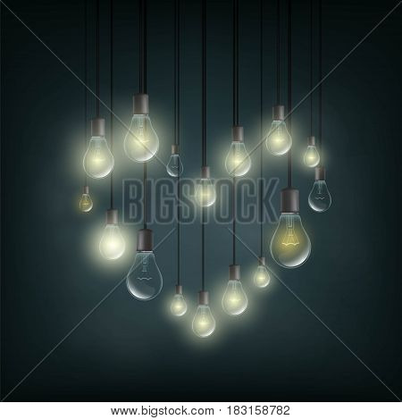 Symbol of love is a heart made of electric bulbs. Stock vector illustration.