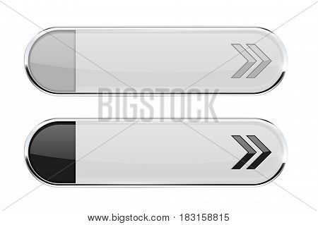 White buttons with black arrows. Normal and active. Interface elements with metal frame. Vector 3d illustration isolated on white background