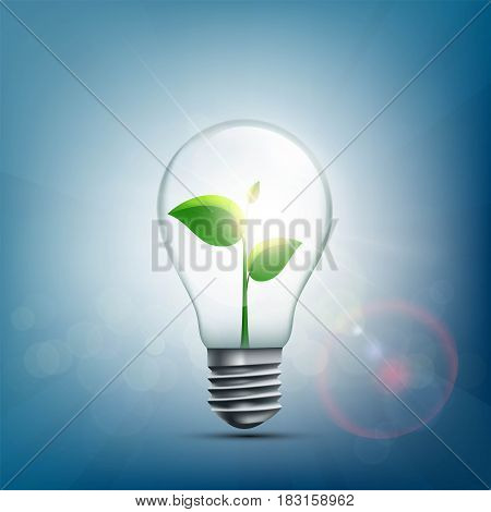 Green plant with leaves inside the electric light bulb. Stock vector illustration.