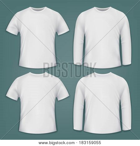 Set of white blank t-shirts. Stock vector illustration.