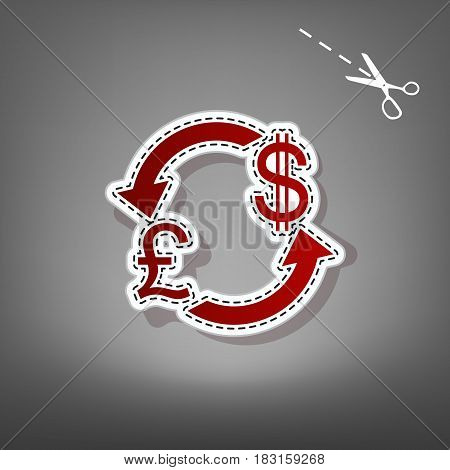 Currency exchange sign. UK: Pound and US Dollar. Vector. Red icon with for applique from paper with shadow on gray background with scissors.