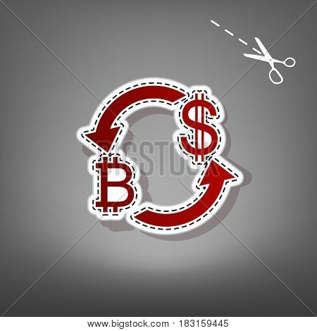 Currency exchange sign. Bitcoin and US Dollar. Vector. Red icon with for applique from paper with shadow on gray background with scissors.