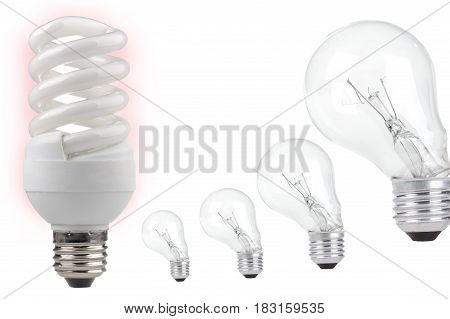 the energy saving on a white background