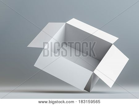 White open blank cardboard box. The box is on the corner. Dark background with shadow. 3d illustration