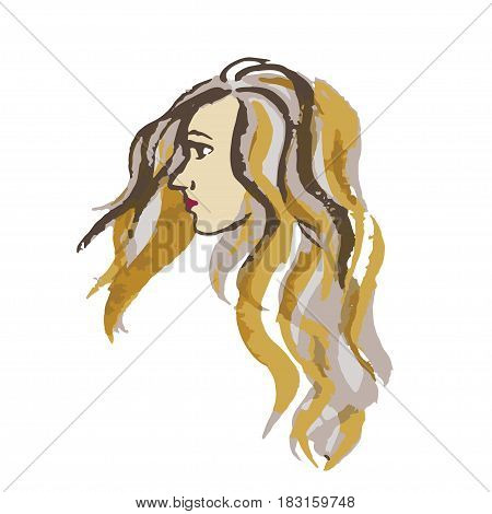 Closeup profile portrait of beautiful young woman with long hair. Freehand drawing with trace watercolor. Vector image