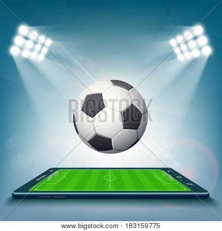Football field on the smartphone screen. Stock vector illustration.