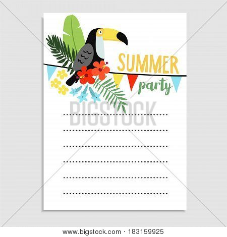 Summer birthday party greeting card, invitation. Toucan bird, palm leaves, hibiscus flowers. Paper flags decoration. Web banner, background, stock vector illustration, flat design.