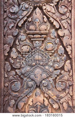 detail of stone carvings in Angkor wat, Cambodia
