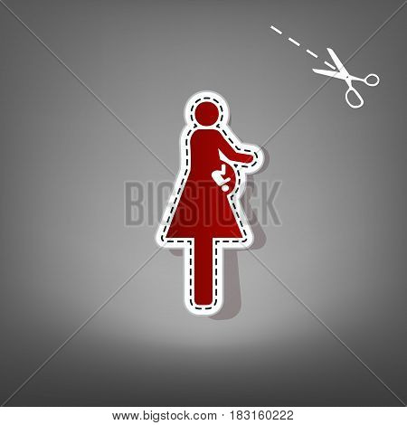 Women and baby sign. Vector. Red icon with for applique from paper with shadow on gray background with scissors.