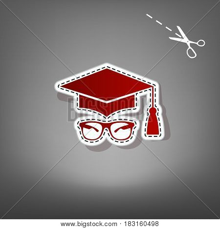 Mortar Board or Graduation Cap with glass. Vector. Red icon with for applique from paper with shadow on gray background with scissors.