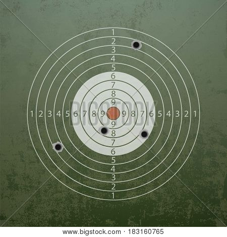 Military target with bullet holes. Stock vector illustration.