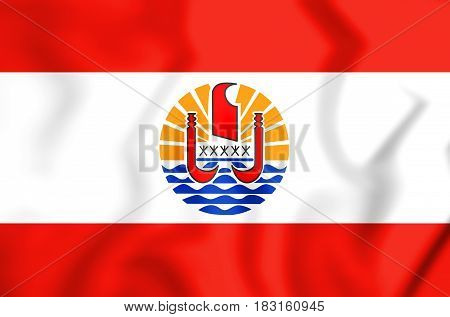 3D Flag Of The French Polynesia.