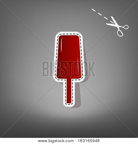 Ice Cream sign. Vector. Red icon with for applique from paper with shadow on gray background with scissors.