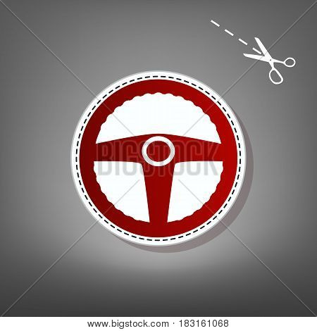 Car driver sign. Vector. Red icon with for applique from paper with shadow on gray background with scissors.