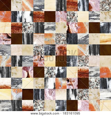 Seamless background with marble and stone patterns of different colors. Endless texture can be used for wallpaper, pattern fills, web page background, surface textures